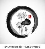 lotus flowers in black enso zen ... | Shutterstock .eps vector #436999891
