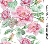 seamless pattern with red roses.... | Shutterstock . vector #437004991