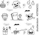 halloween element doodle vector ... | Shutterstock .eps vector #437006521