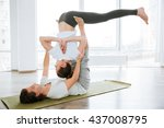 young couple practicing acro... | Shutterstock . vector #437008795