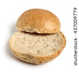 Small photo of Halves of Graham Bread Roll. Isolated on white background.