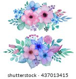 collection of hand drawn... | Shutterstock . vector #437013415
