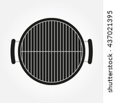 barbecue grill icon. top view... | Shutterstock .eps vector #437021395