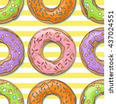 sweet seamless pattern with... | Shutterstock .eps vector #437024551