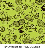 hand drawn vector pattern with... | Shutterstock .eps vector #437026585