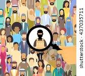 terrorist in crowd people group ... | Shutterstock .eps vector #437035711