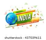 glossy 3d ashoka wheel on... | Shutterstock .eps vector #437039611