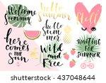summer hand drawn calligraphyc...   Shutterstock .eps vector #437048644