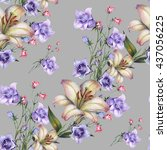 watercolor bouquet seamless... | Shutterstock . vector #437056225