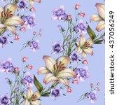 watercolor bouquet seamless... | Shutterstock . vector #437056249