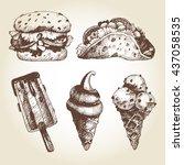 vector set of fast food in... | Shutterstock .eps vector #437058535