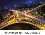 elevated highway and overpass... | Shutterstock . vector #437060071
