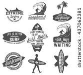 set of vintage surfing... | Shutterstock .eps vector #437062381