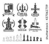 set of vintage chess labels ...   Shutterstock .eps vector #437062759