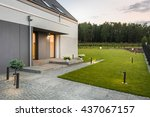 new villa with garden and... | Shutterstock . vector #437067157