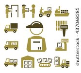 shipping  logistics icon set | Shutterstock .eps vector #437068285