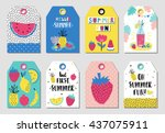 summer gift tags and labels... | Shutterstock .eps vector #437075911