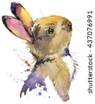 Stock photo cute rabbit hare watercolor illustration forest animal 437076991