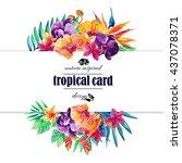 tropical floral  watercolor... | Shutterstock . vector #437078371