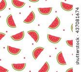 watermelon icon.seamless... | Shutterstock .eps vector #437081674