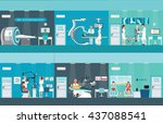 doctors and patients in... | Shutterstock .eps vector #437088541