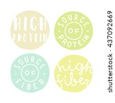 set of badges. high protein ... | Shutterstock .eps vector #437092669
