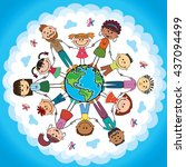 globe kids. international... | Shutterstock .eps vector #437094499