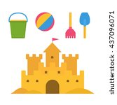 beach toys and sand castle... | Shutterstock .eps vector #437096071