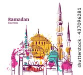 ramadan kareem holiday design.... | Shutterstock .eps vector #437096281