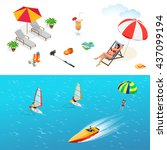 beach icon set. girl in a... | Shutterstock .eps vector #437099194