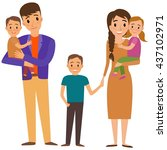 big family portrait. happy... | Shutterstock . vector #437102971