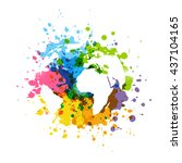 rainbow paint splashes with map ... | Shutterstock .eps vector #437104165