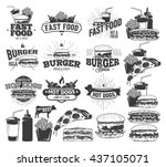 fast food label  logos and... | Shutterstock .eps vector #437105071