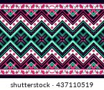 geometric ethnic pattern... | Shutterstock .eps vector #437110519