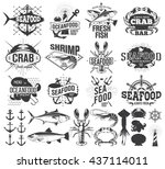 seafood labels  logo and... | Shutterstock .eps vector #437114011