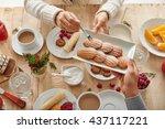 eating dessert | Shutterstock . vector #437117221