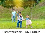 outdoor portrait of happy asian ... | Shutterstock . vector #437118805