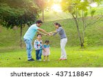 asian family outdoor quality... | Shutterstock . vector #437118847
