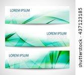 abstract header green wave... | Shutterstock .eps vector #437123185
