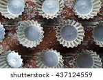 pattern baking dish on wooden... | Shutterstock . vector #437124559