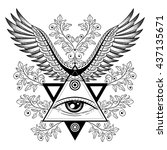 ornamental illustration with... | Shutterstock .eps vector #437135671