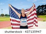 athlete posing with american... | Shutterstock . vector #437135947
