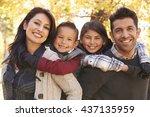 portrait of happy parents... | Shutterstock . vector #437135959