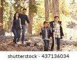 close up of happy hispanic... | Shutterstock . vector #437136034