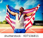 portrait of american sportsman... | Shutterstock . vector #437136811