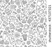 coffee monochrome seamless... | Shutterstock .eps vector #437137321