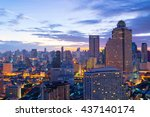 bangkok city skyline during... | Shutterstock . vector #437140174