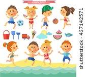 vector summer set with kids in... | Shutterstock .eps vector #437142571