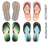 set of beach slippers. colorful ... | Shutterstock .eps vector #437144857