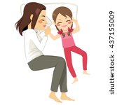 cute mother and daughter... | Shutterstock .eps vector #437155009